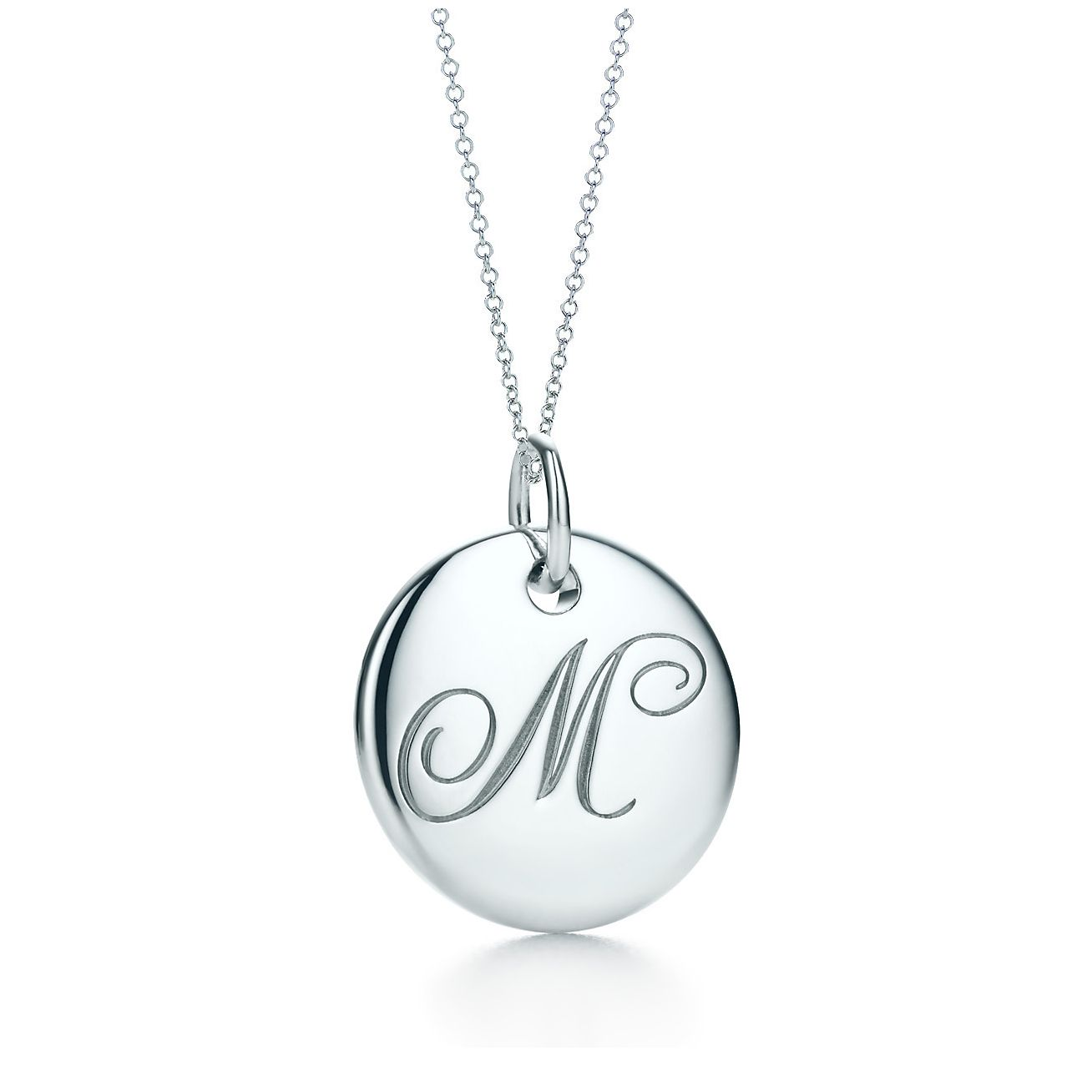 317e281c7 Tiffany Notes alphabet disc charm in silver on a chain. Letters A-Z  available. | Tiffany & Co.