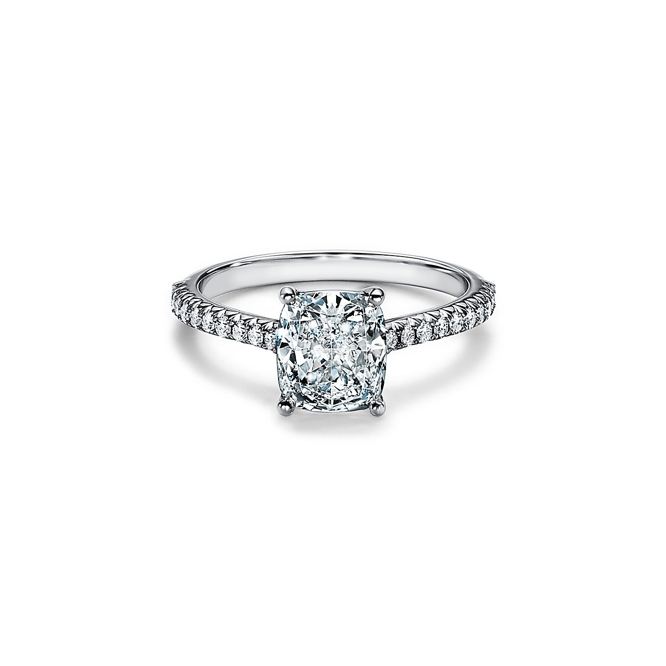 Tiffany Novo Cushion Cut Engagement Ring With A Pave Diamond Band In Platinum Tiffany Co