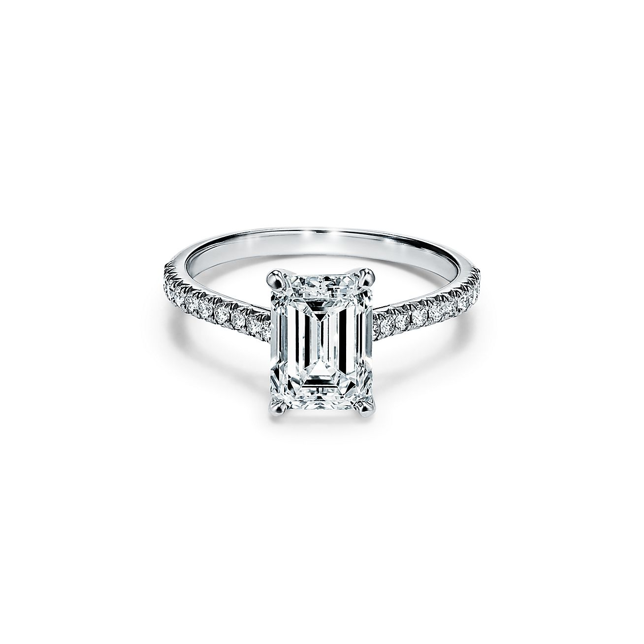 Tiffany Novo Emerald Cut Engagement Ring With A Pave Diamond