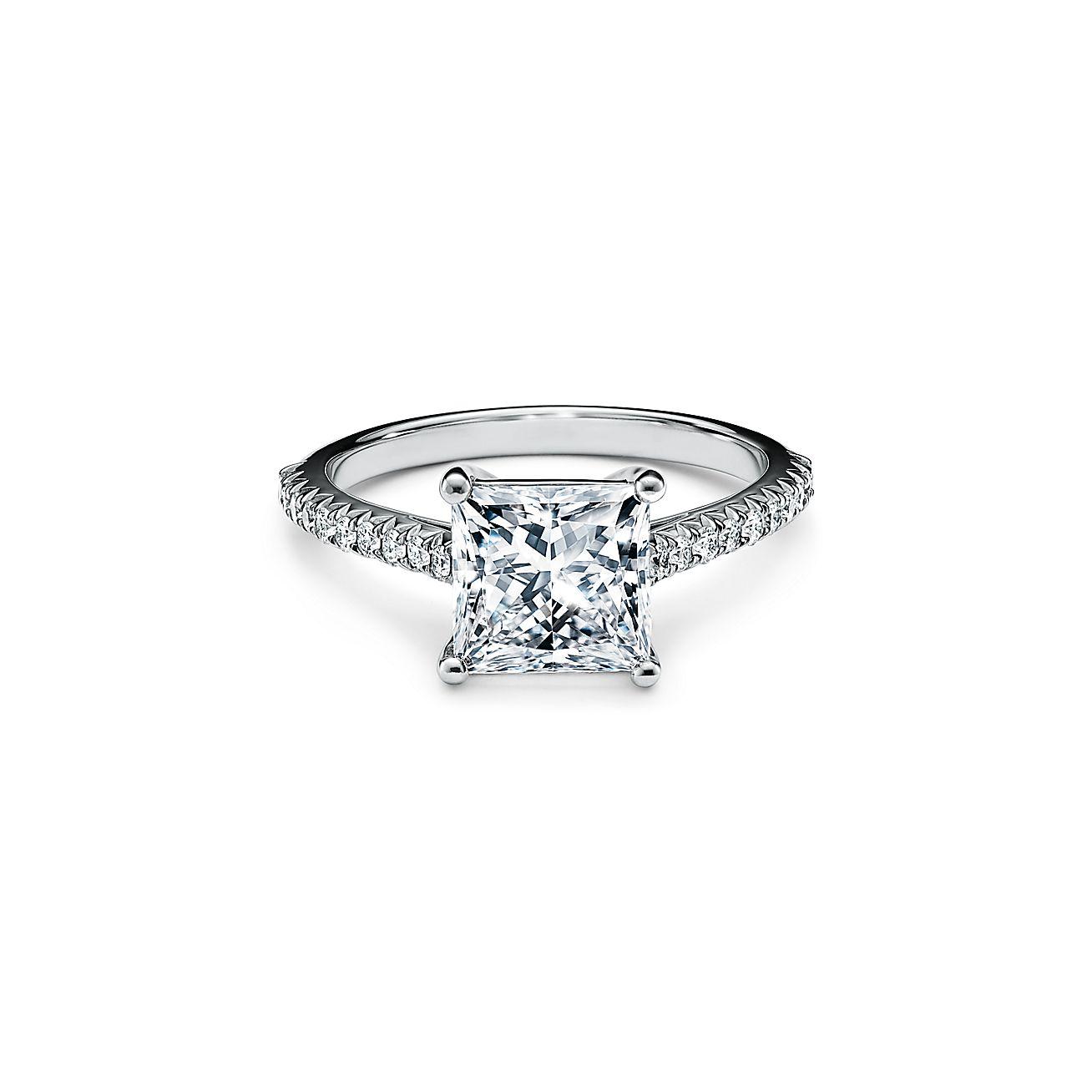 Tiffany Novo Princess Cut Engagement Ring With A Pave Set