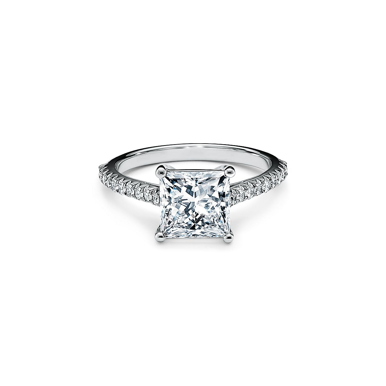 Tiffany Novo Princess Cut Engagement Ring With A Pave Set Diamond Band In Platinum