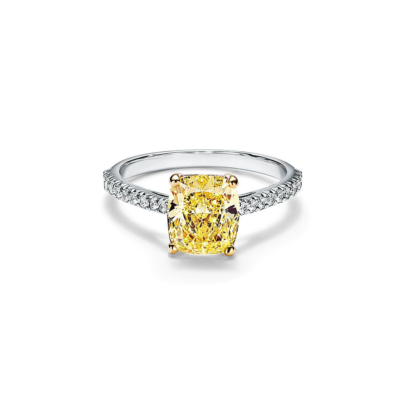 Tiffany Novo Yellow Diamond Engagement Ring With A Pave Diamond Platinum Band