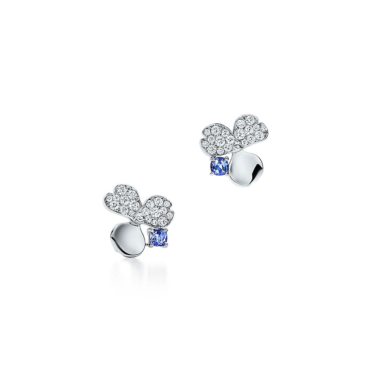Diamond And Tanzanite Flower Earrings