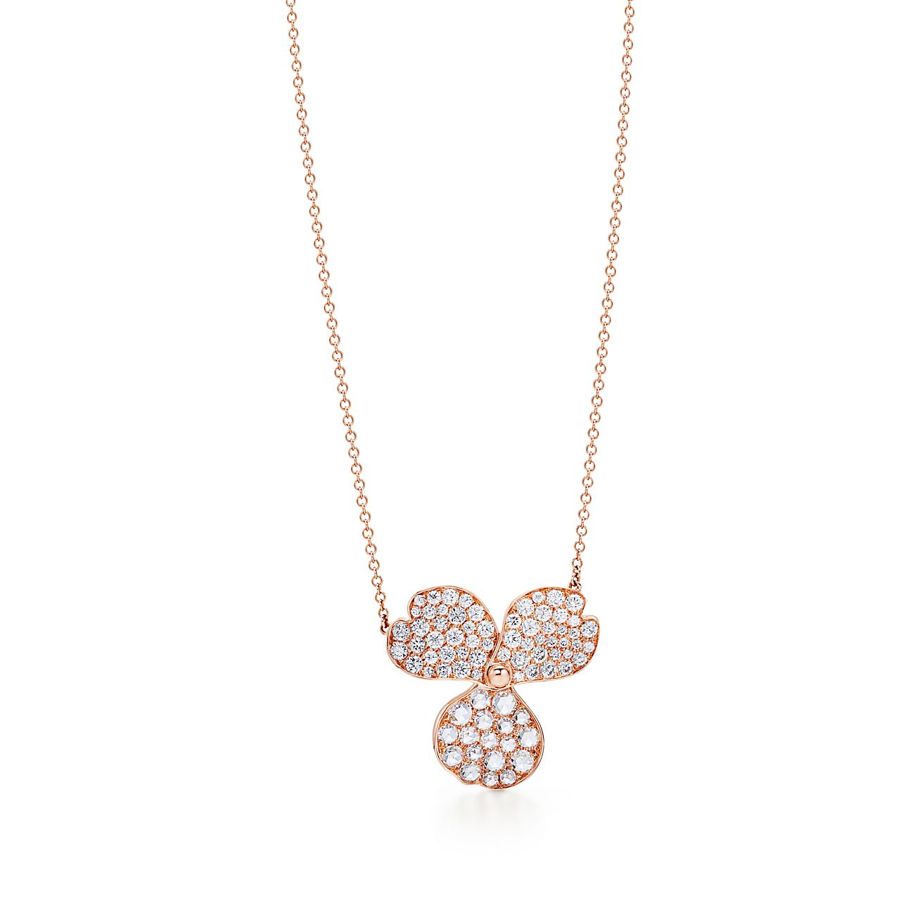 Tiffany Paper Flowers Diamond Flower Pendant In 18k Rose Gold