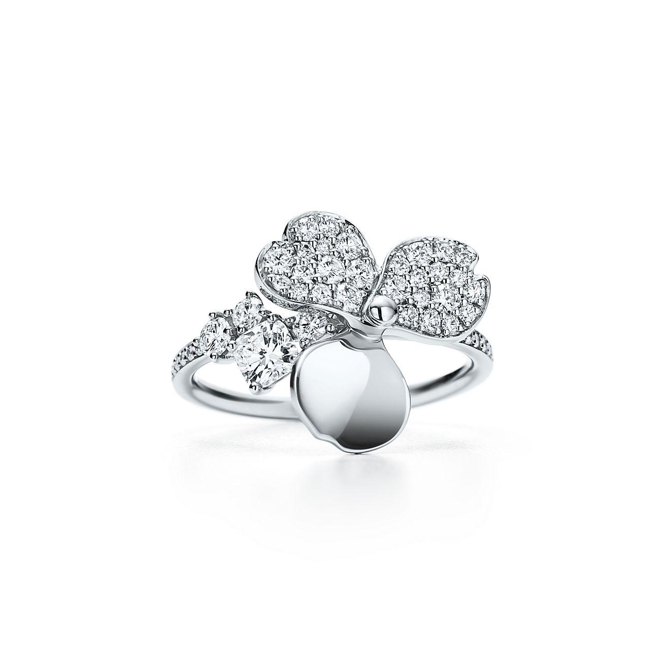 Tiffany Paper Flowers Diamond Flower Ring In Platinum Tiffany Co