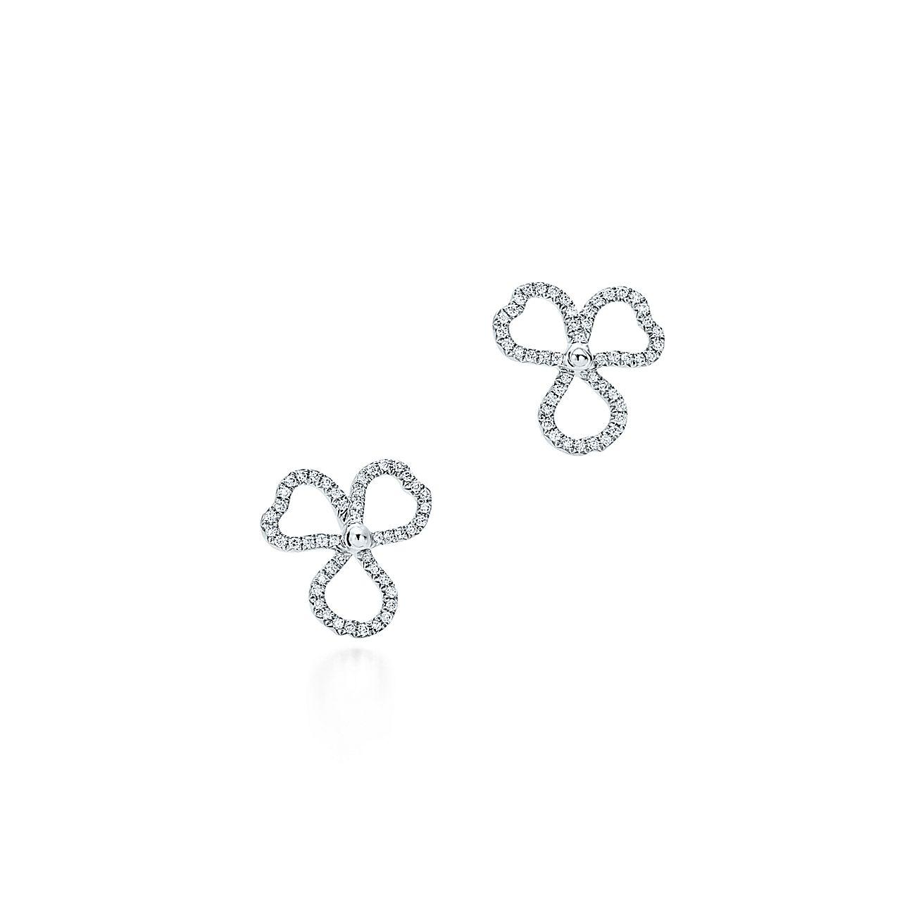 Diamond Open Flower Earrings
