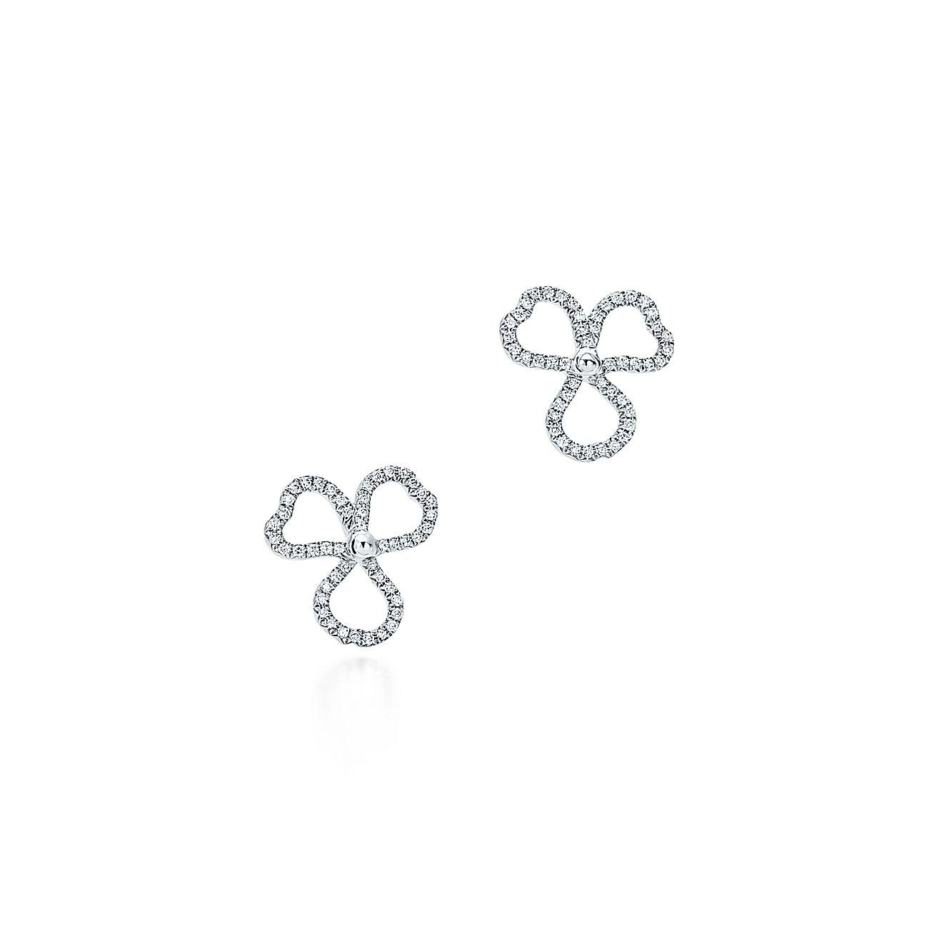 Tiffany Paper Flowers Diamond Open Flower Earrings In Platinum Co