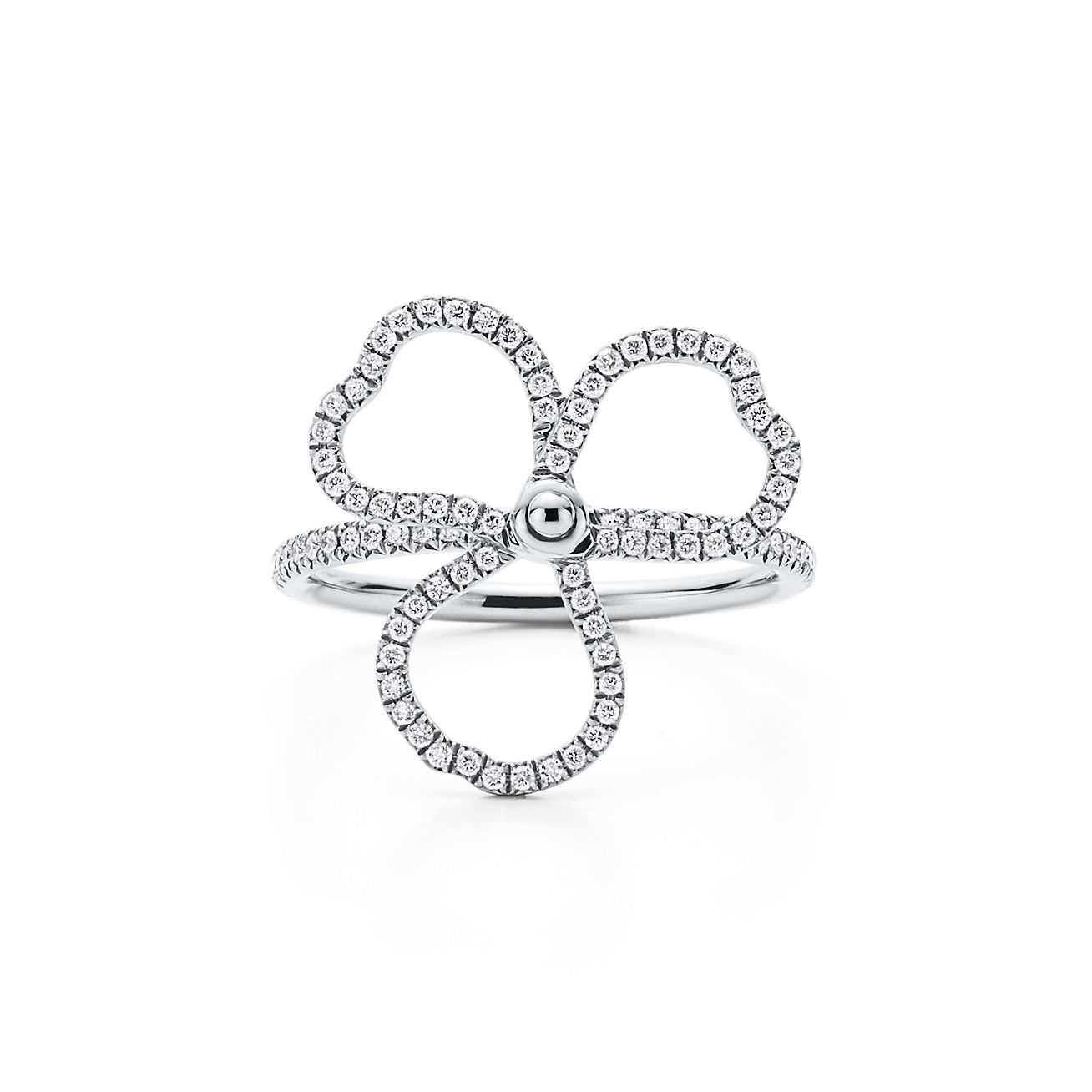 Tiffany Paper Flowers Ring Mit Offener Diamantblte In Platin
