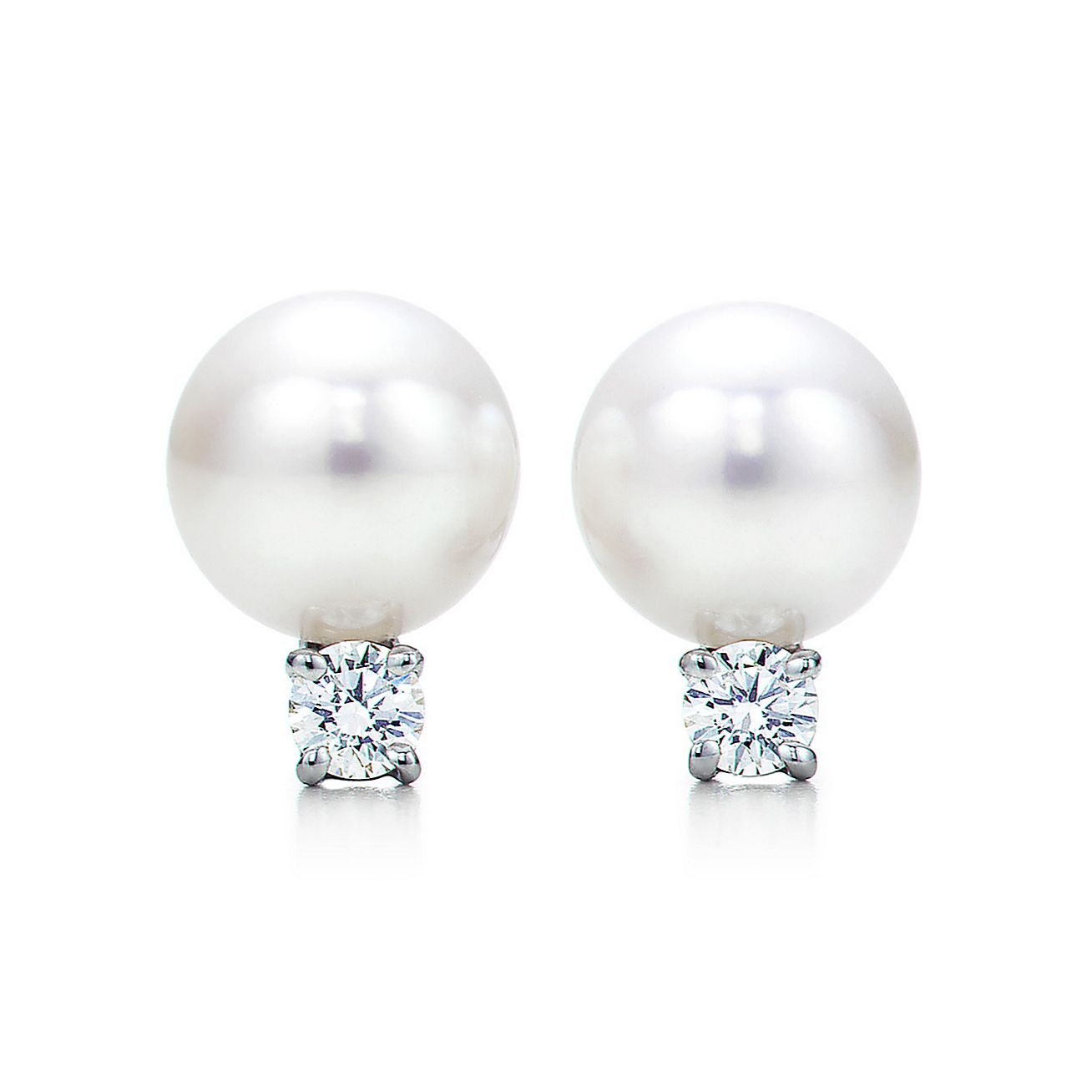 Tiffany Signature Pearls Earrings In 18k White Gold With And Diamonds Co