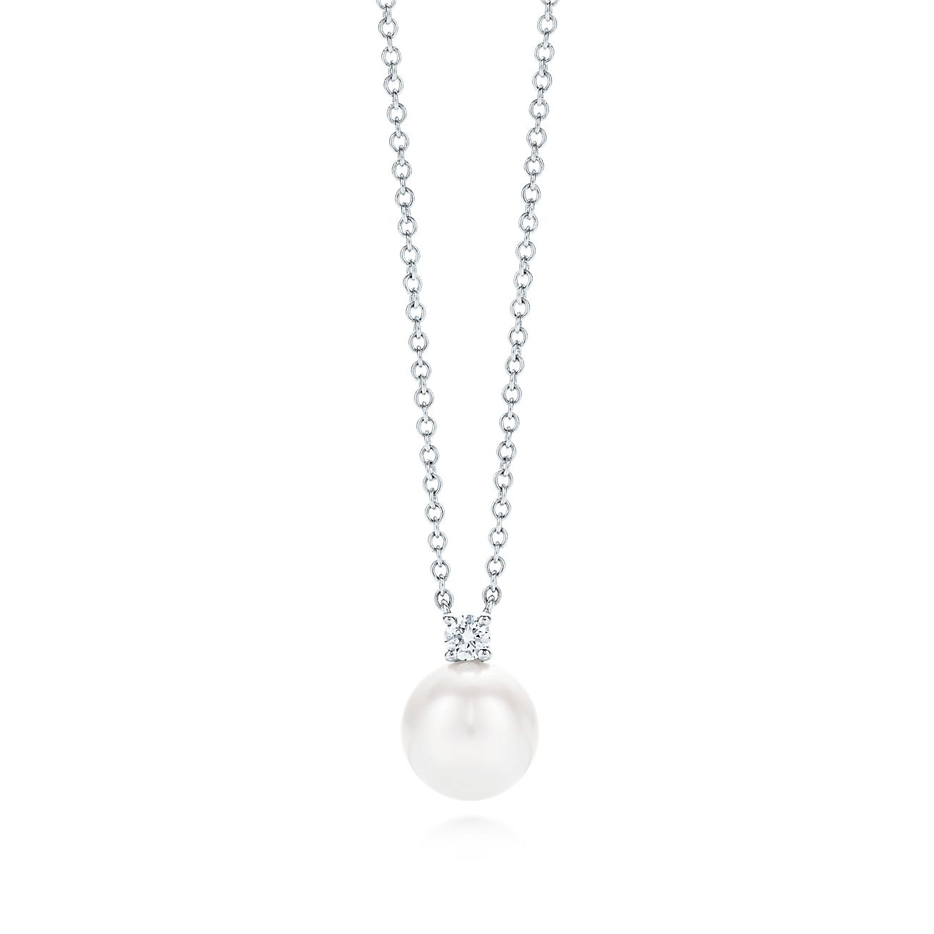 Tiffany signature pearls pendant in 18k white gold with a pearl and tiffany signature pearls pendant in 18k white gold with a pearl and a diamond tiffany co aloadofball Gallery