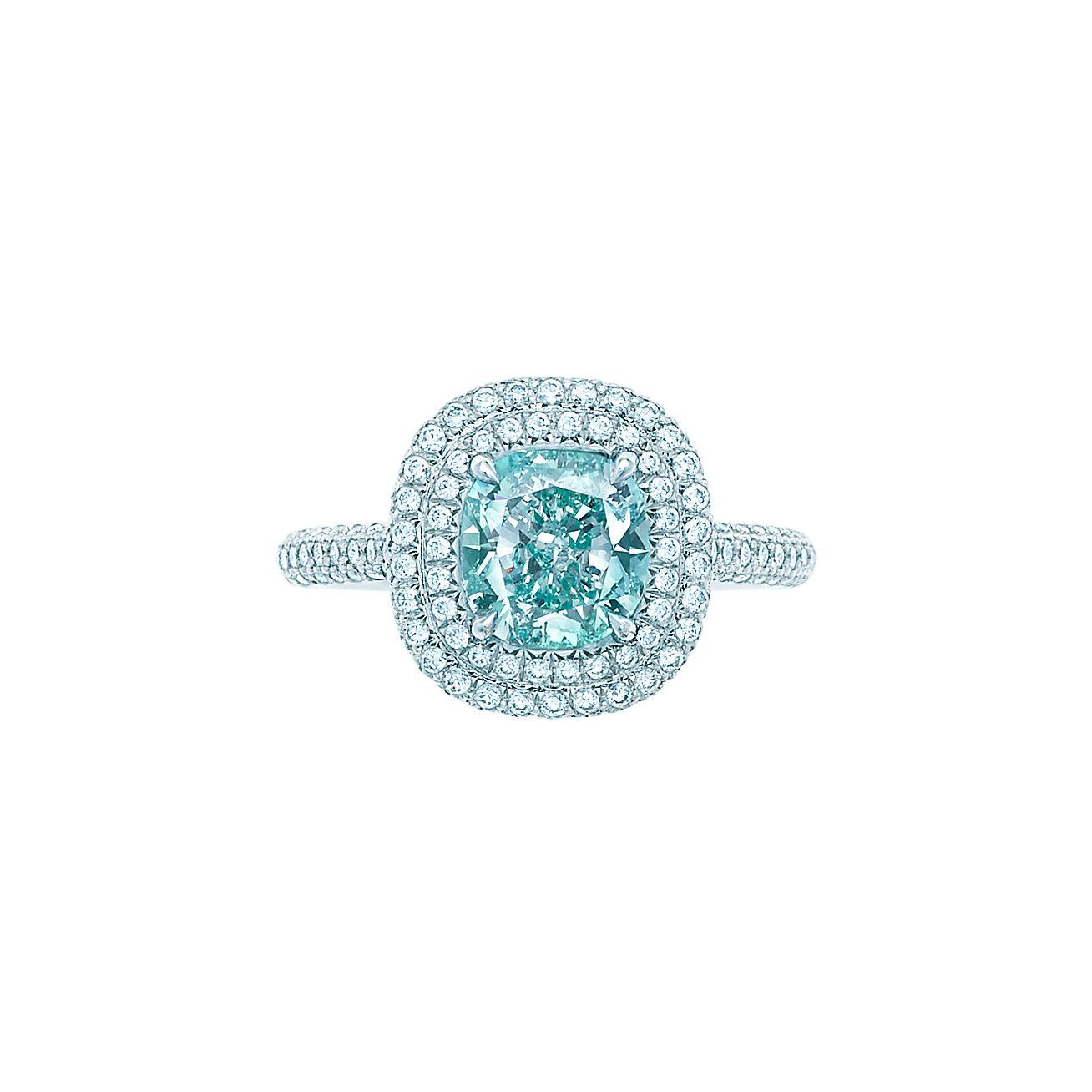 Tiffany Soleste® ring with a 1.66-carat Fancy Intense Bluish Green diamond.    Tiffany & Co.