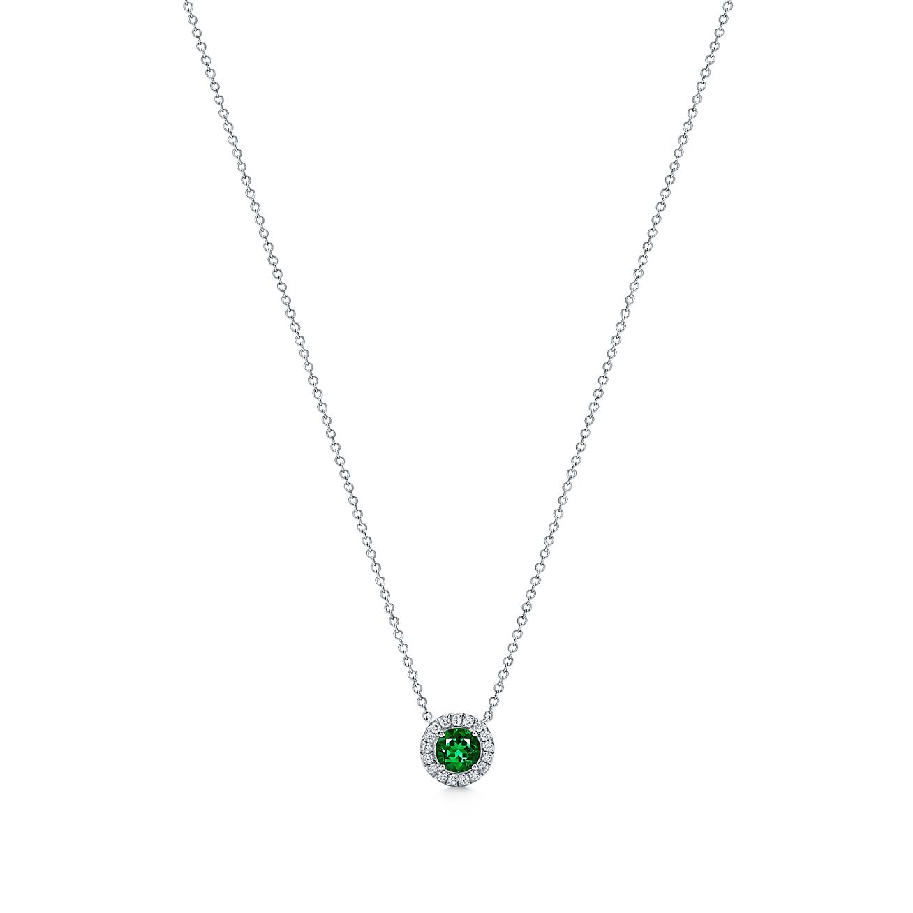 Tiffany soleste pendant in platinum with diamonds and an emerald tiffany solestependant aloadofball Gallery