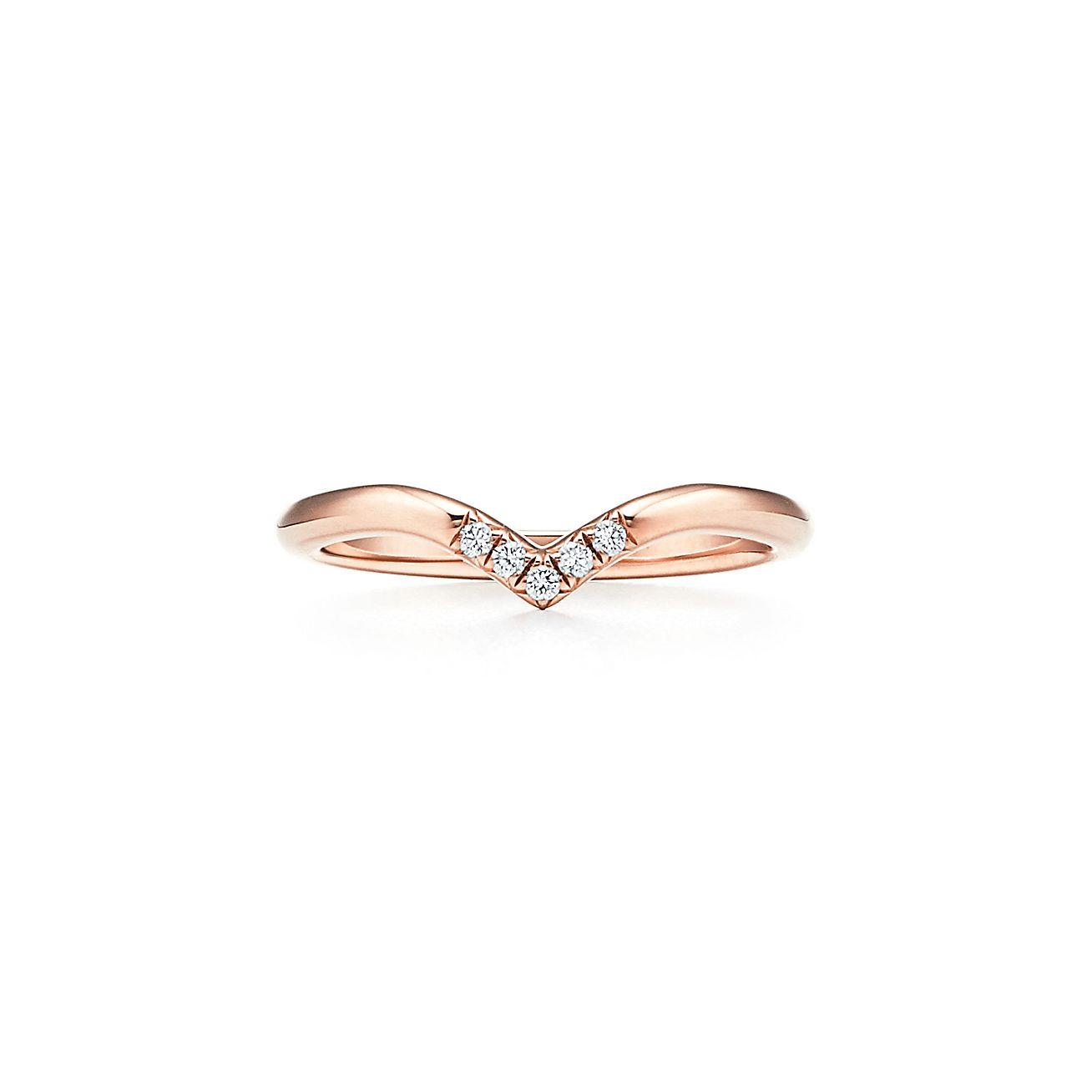 Tiffany Soleste V Ring In 18k Rose Gold With Five Diamonds