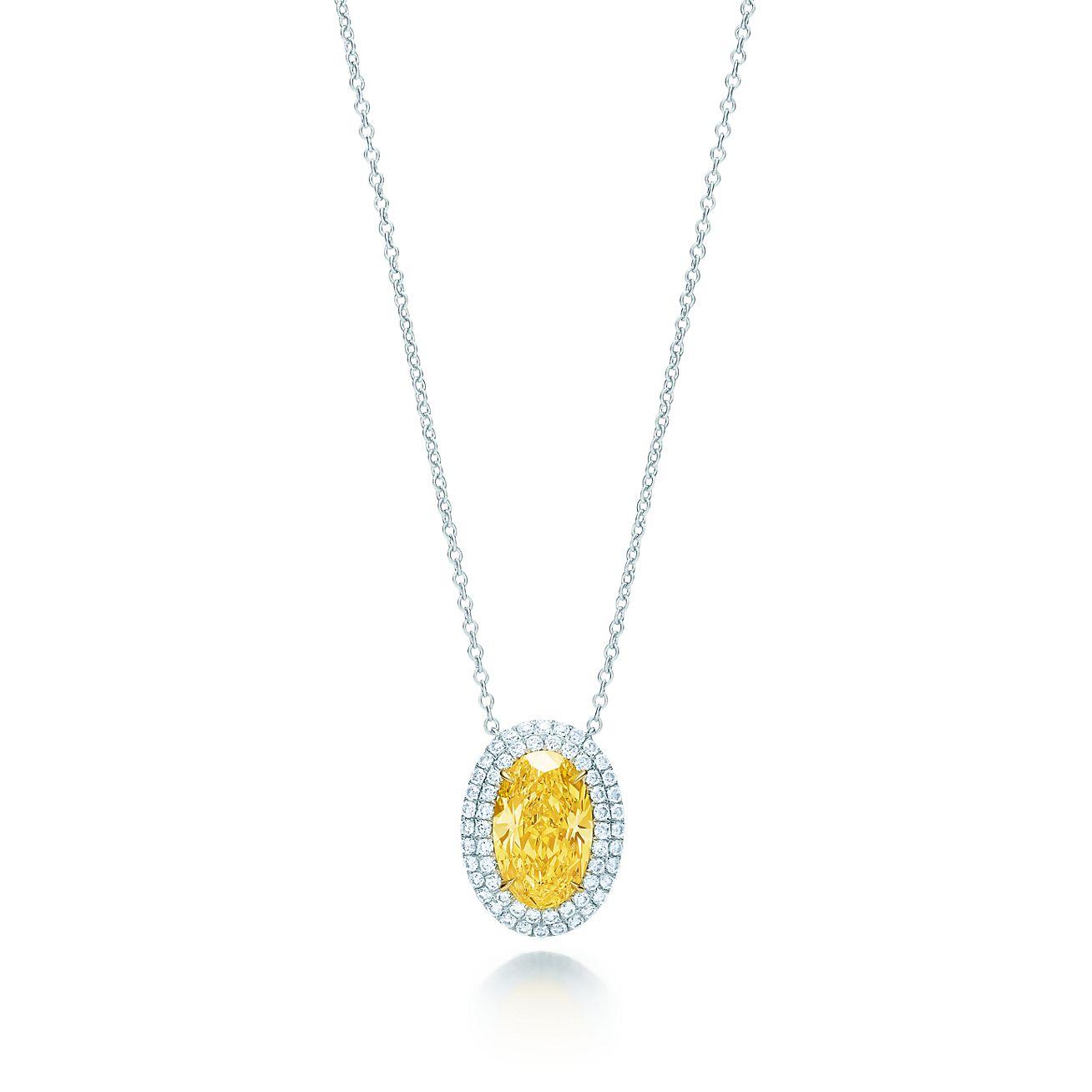 Tiffany Soleste Yellow Diamond Pendant In Platinum And 18k Gold With Diamonds Tiffany Co