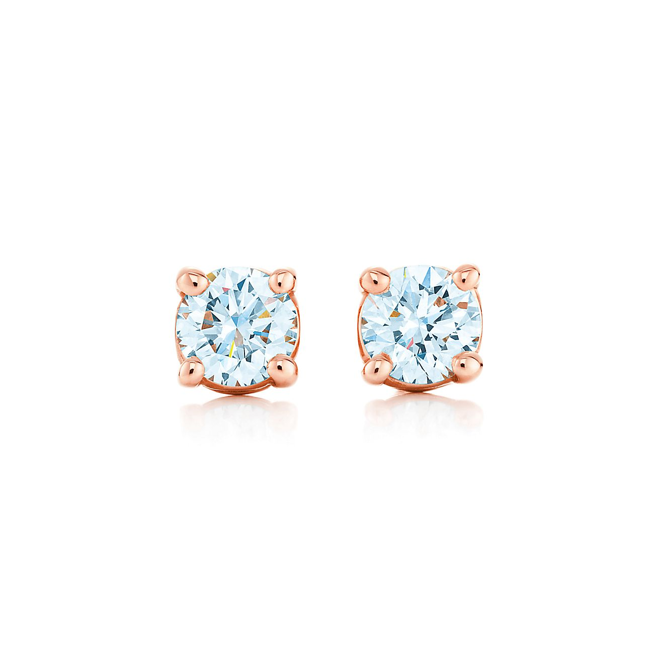 Tiffany Solitaire Diamond Earrings In 18k Rose Gold Tiffany Co