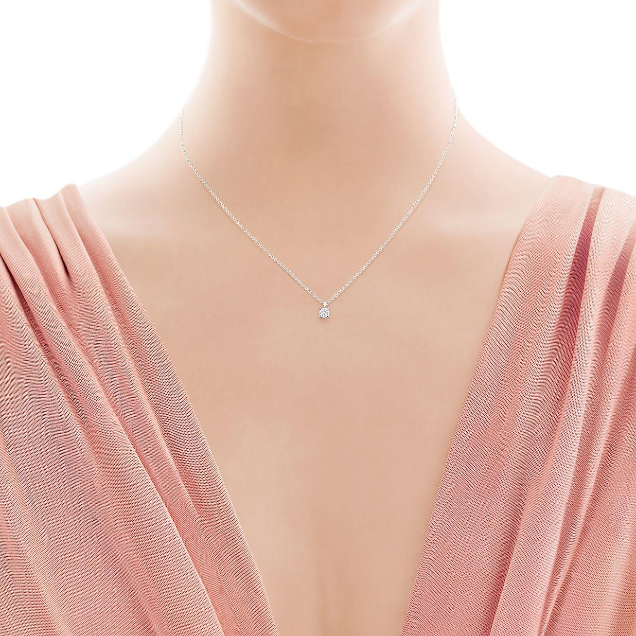 Tiffany Solitaire Diamond Pendant In Platinum Tiffany Co