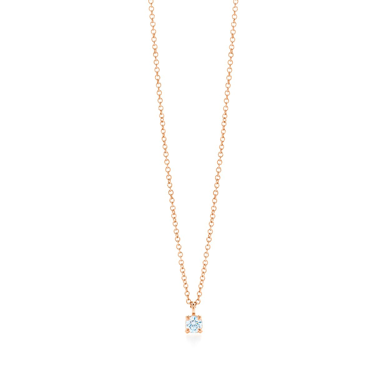 Tiffany Solitaire Diamond Pendant In 18k Rose Gold Tiffany Co