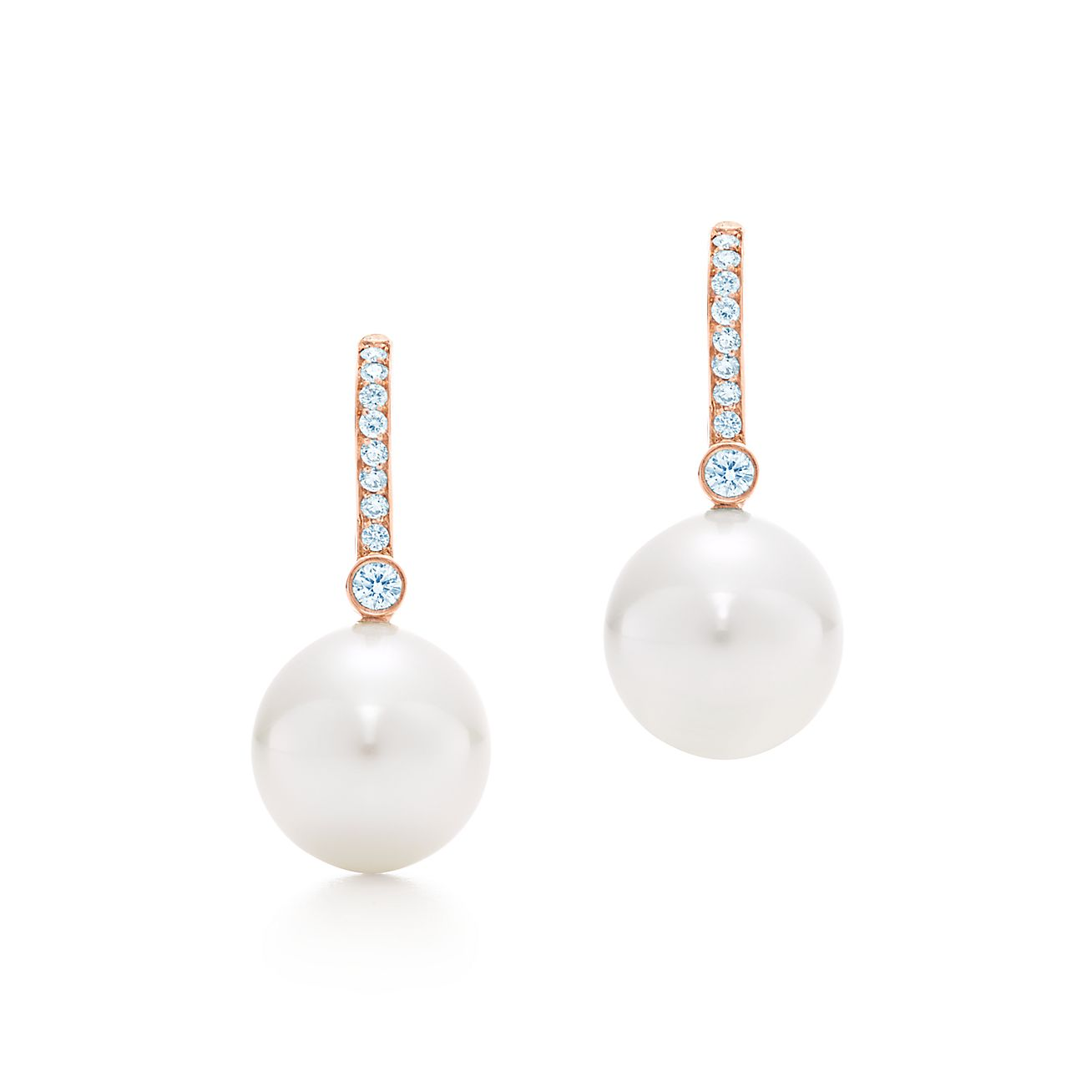 Earrings In 18k Rose Gold With South Sea Cultured Pearls And Diamonds Tiffany Co