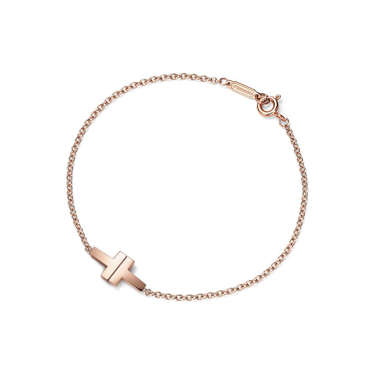 Bracelet chaîne simple Tiffany T Two en or rose 18 carats. Medium ... 46224dffac8d
