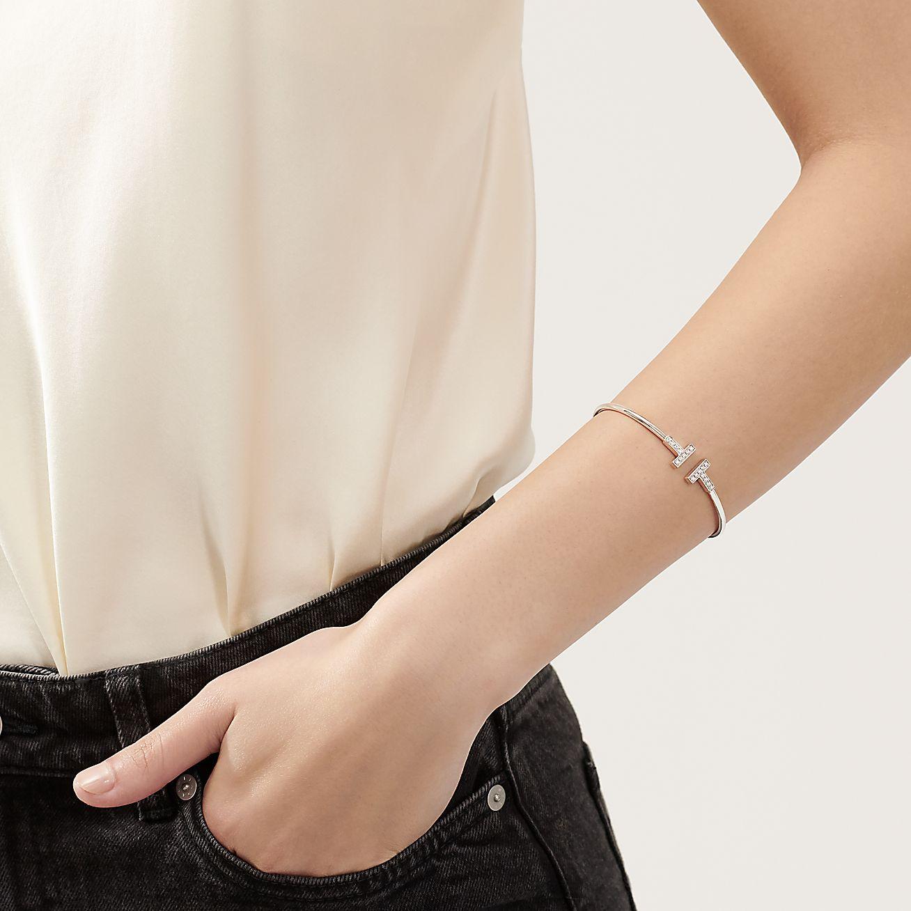 Tiffany T Diamond Wire Bracelet In 18k White Gold Medium Tiffany Co
