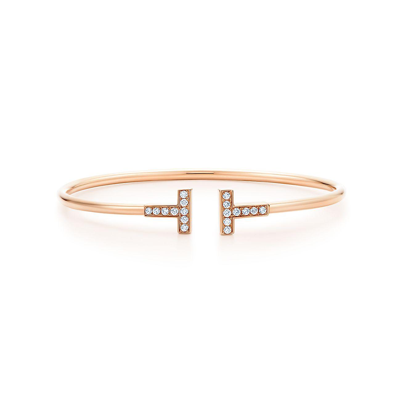 Tiffany T Diamond Wire Bracelet In 18k Rose Gold Medium Tiffany Co