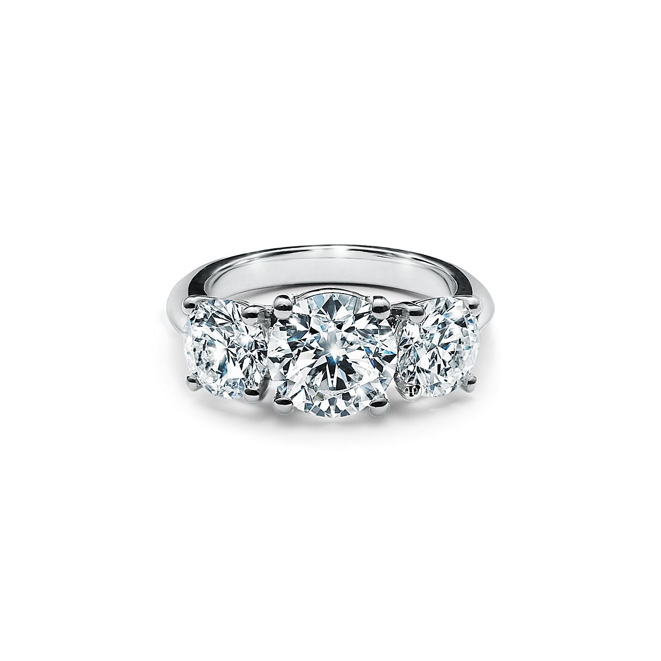 Tiffany Three Stone Engagement Ring In Platinum