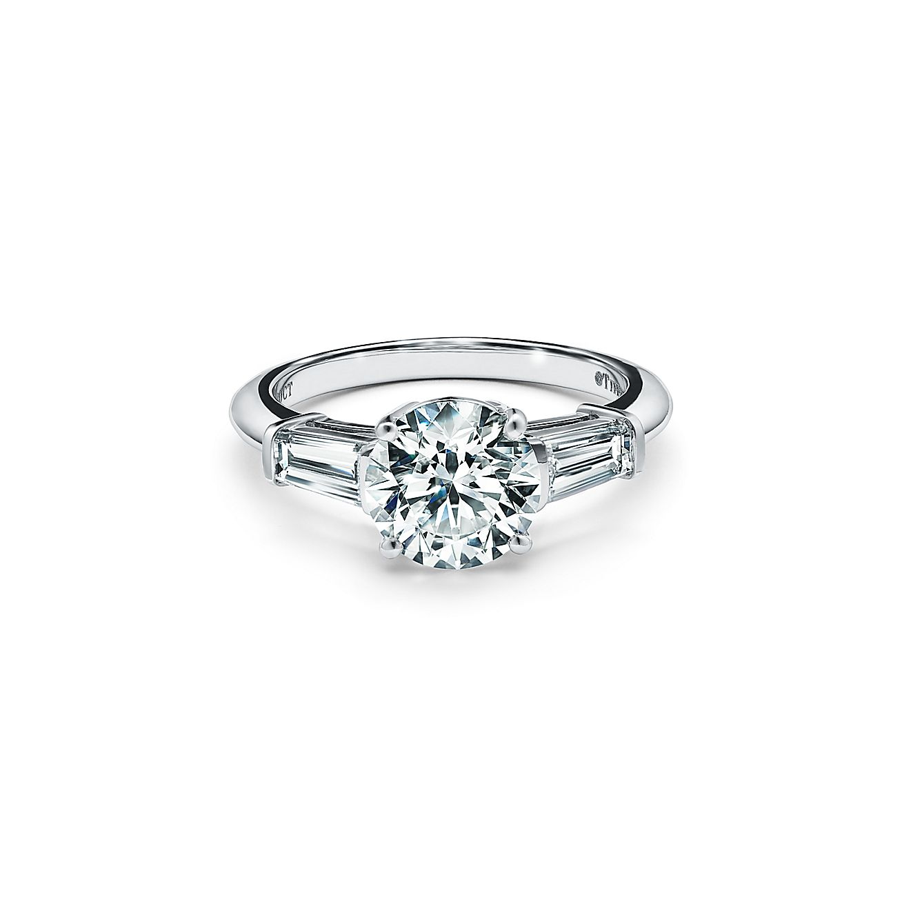 Tiffany Three Stone Engagement Ring With Baguette Side Stones In Platinum
