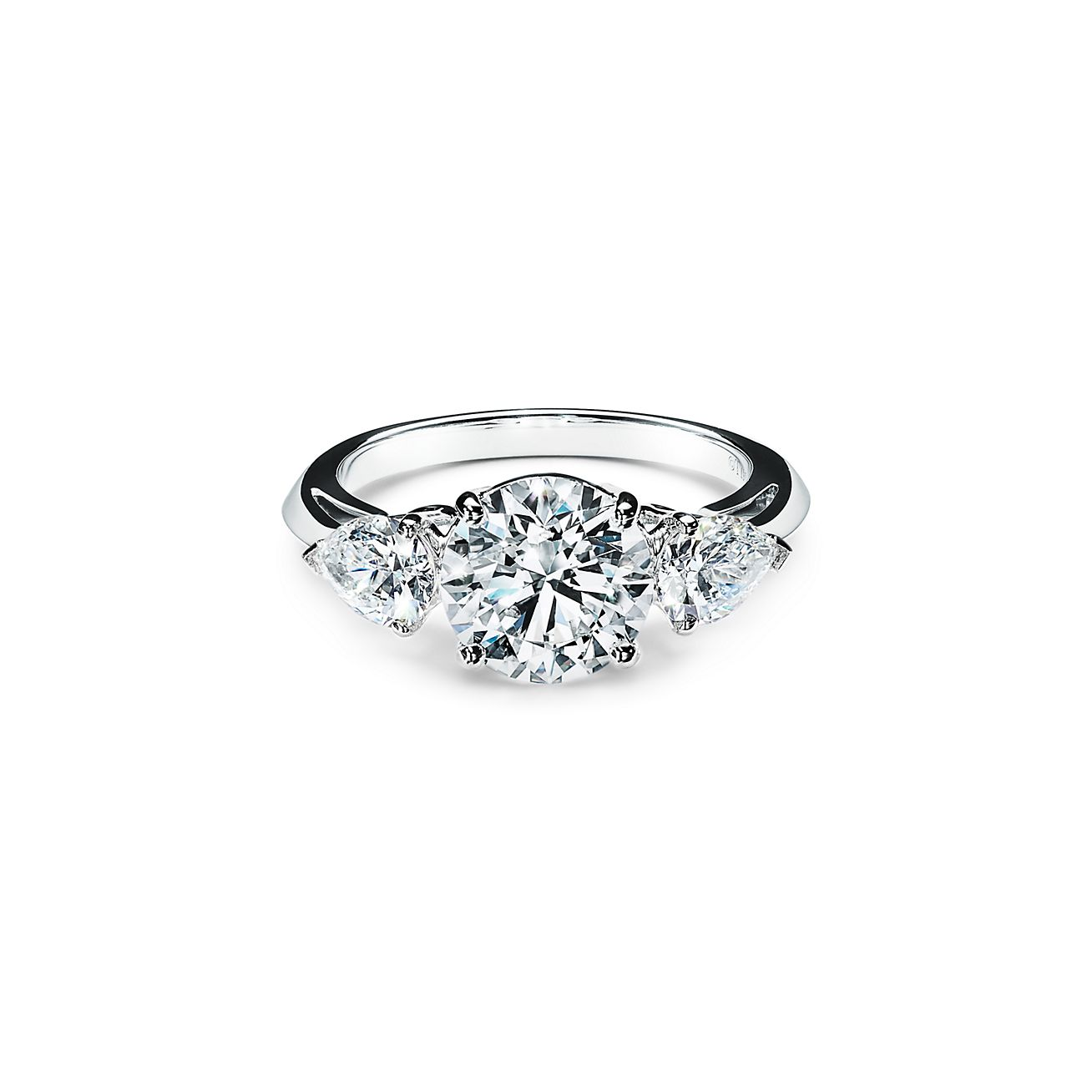 Excellent Pear Cut 925 Sterling Silver 14K White Gold Ring Certified 3.00 Ct Pear Shape White Diamond Engagement Ring,Three Stone Ring