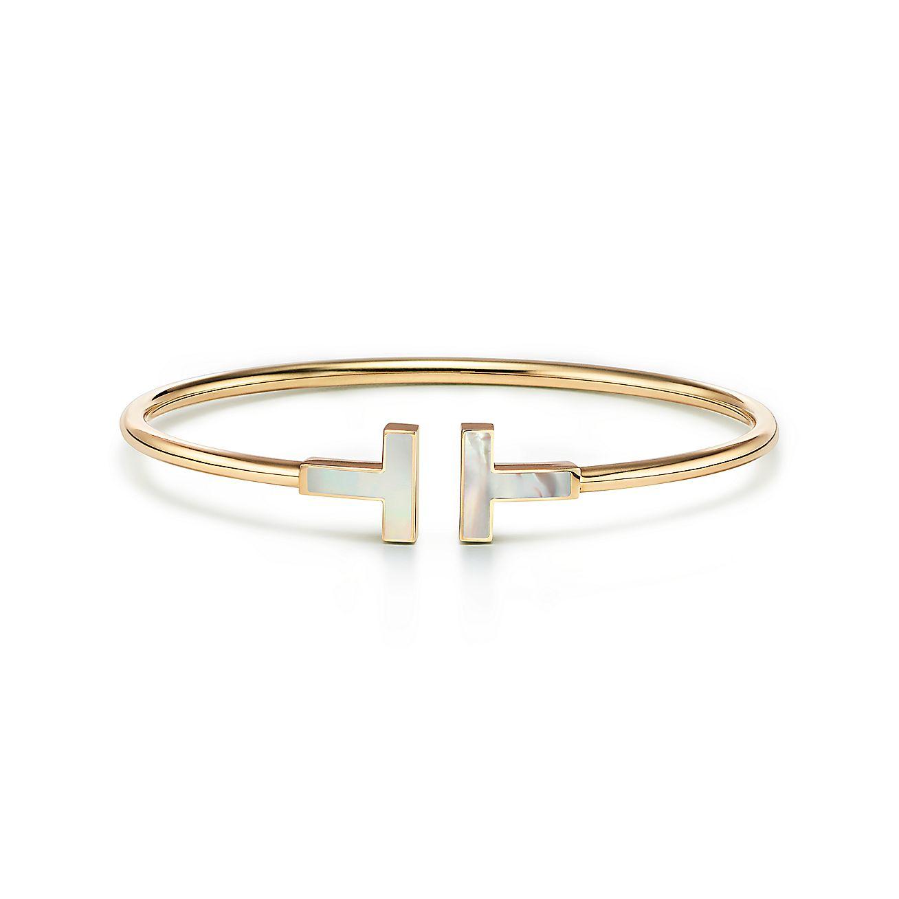 Tiffany T Mother Of Pearl Wire Bracelet In 18k Gold Medium Tiffany Co