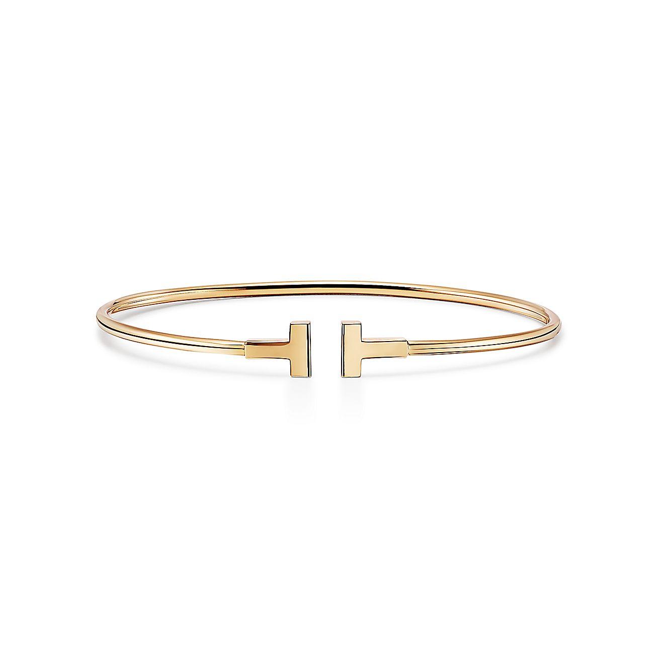 Tiffany T Narrow Wire Bracelet In 18k Gold Medium Tiffany Co