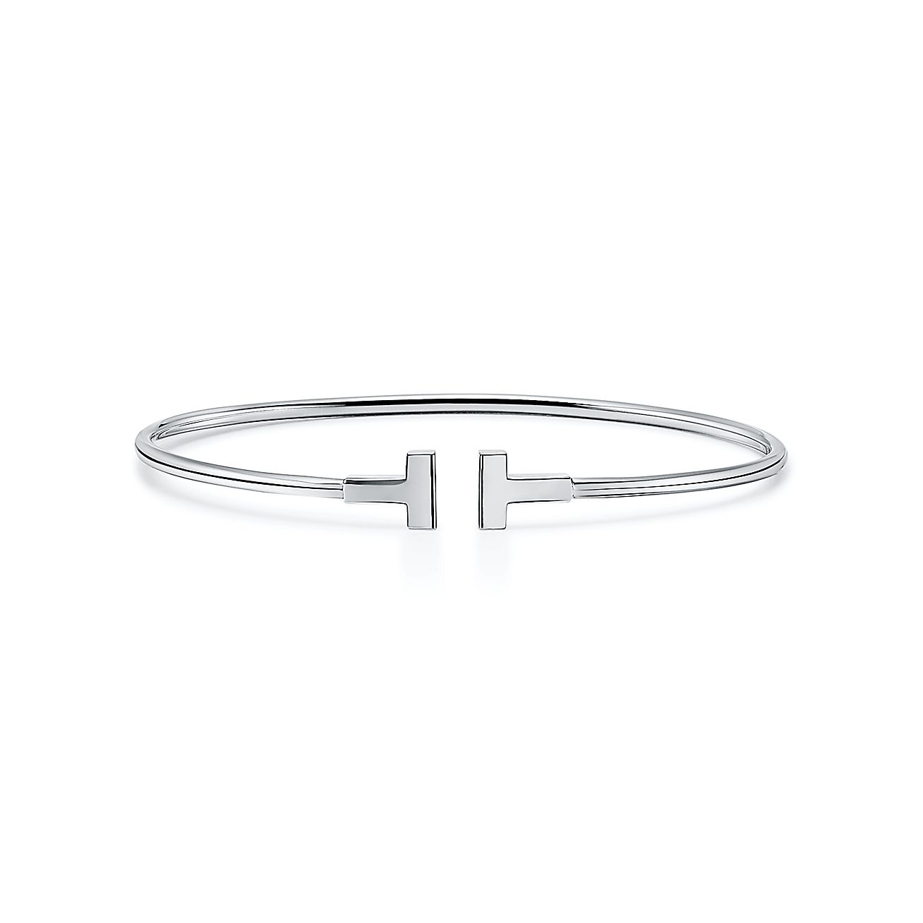Tiffany T Narrow Wire Bracelet In 18k White Gold Medium Tiffany Co