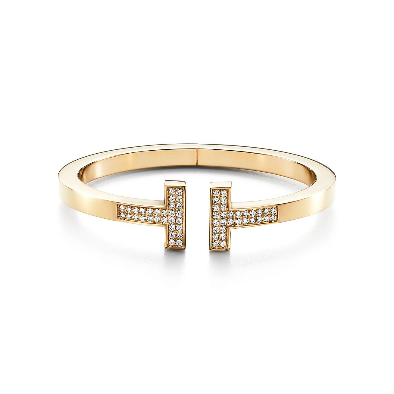 Tiffany T Pave Diamond Square Bracelet In 18k Gold Medium Tiffany Co