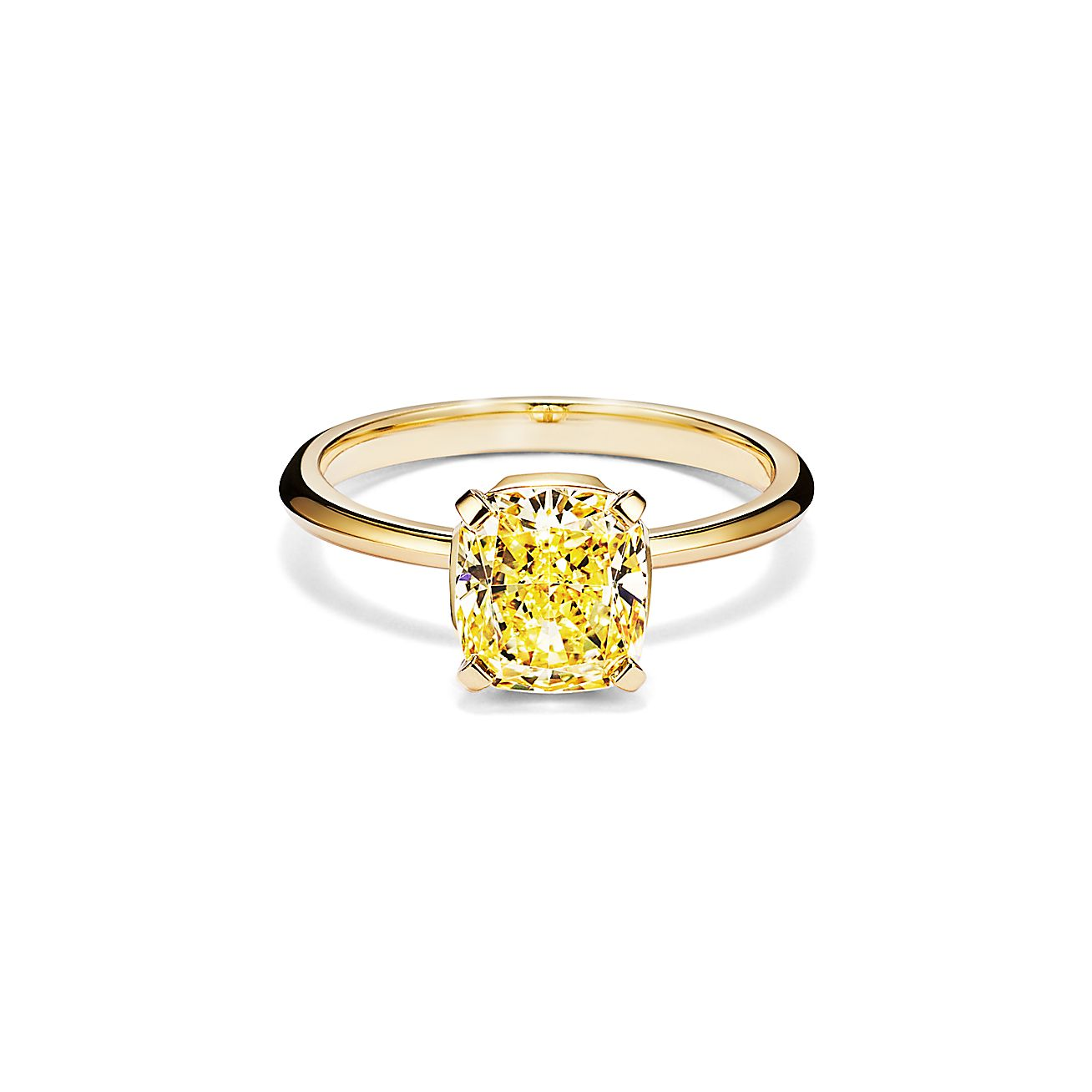 Tiffany True Engagement Ring With A Cushion Cut Yellow Diamond In 18k Yellow Gold