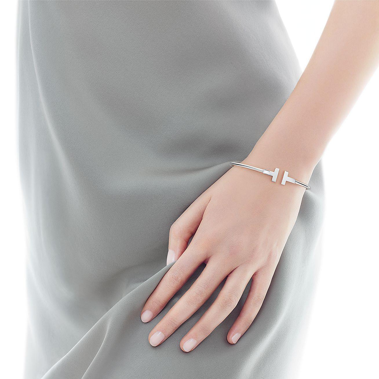 Tiffany T Wire Bracelet In 18k White Gold Medium Tiffany Co