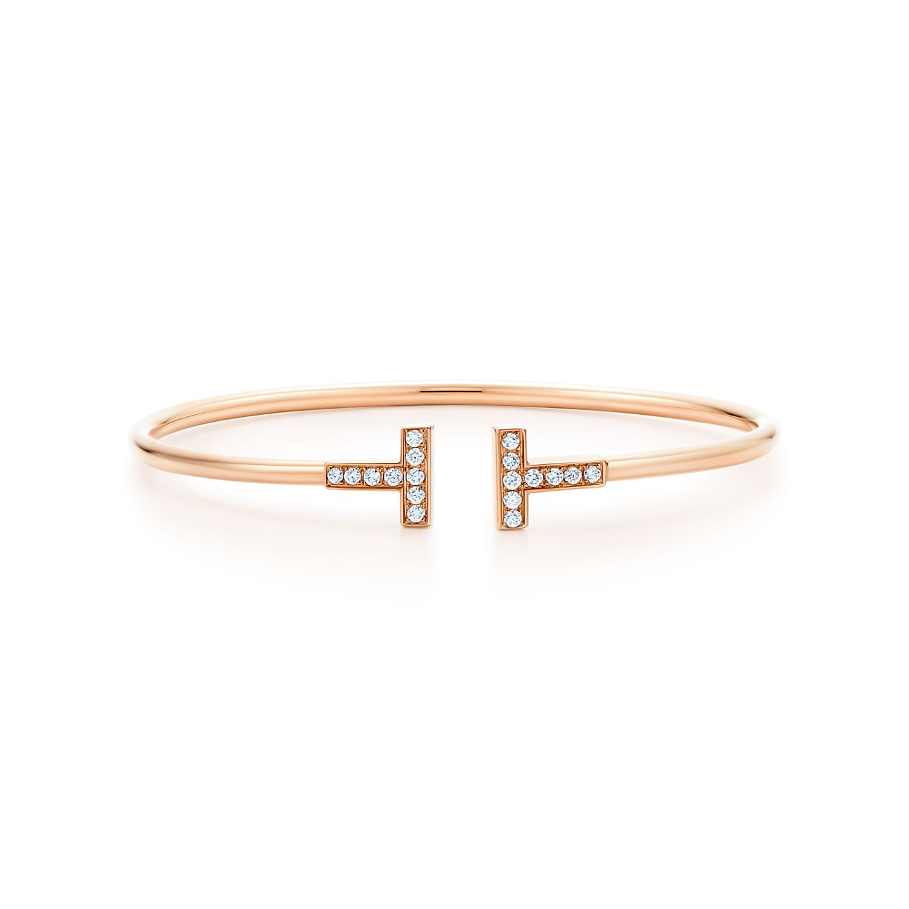 Tiffany T Wire Bracelet In Rose Gold With Diamonds Tiffany Co