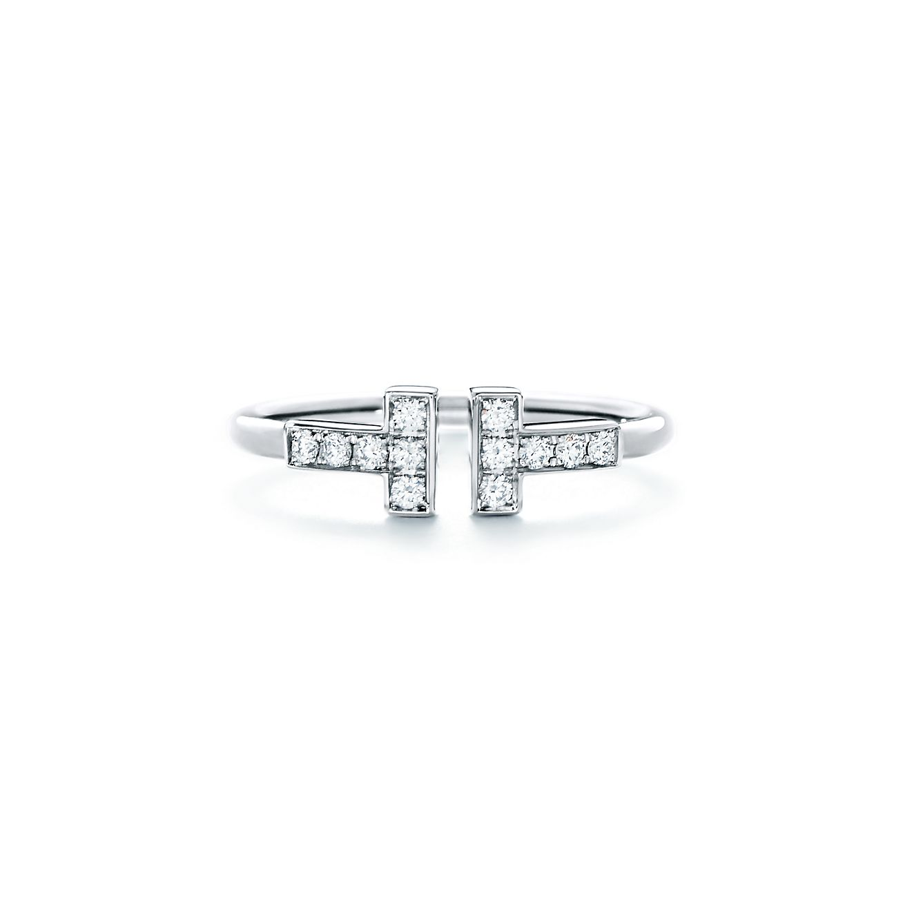 Tiffany T Wire Ring In 18k White Gold With Diamonds Tiffany Co