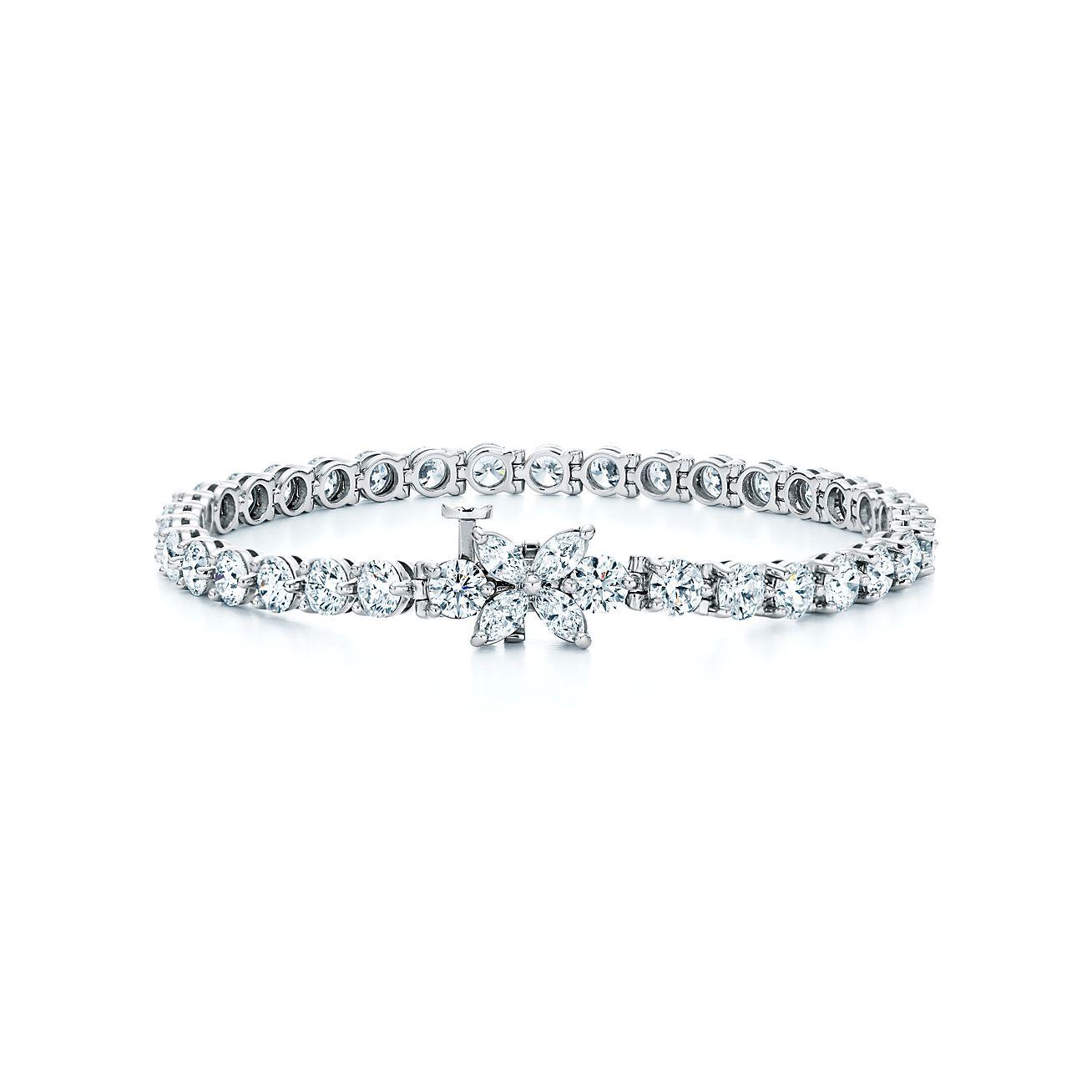 Pulseira Line Tiffany Victoria Em Platina Com Diamantes Tiffany Co