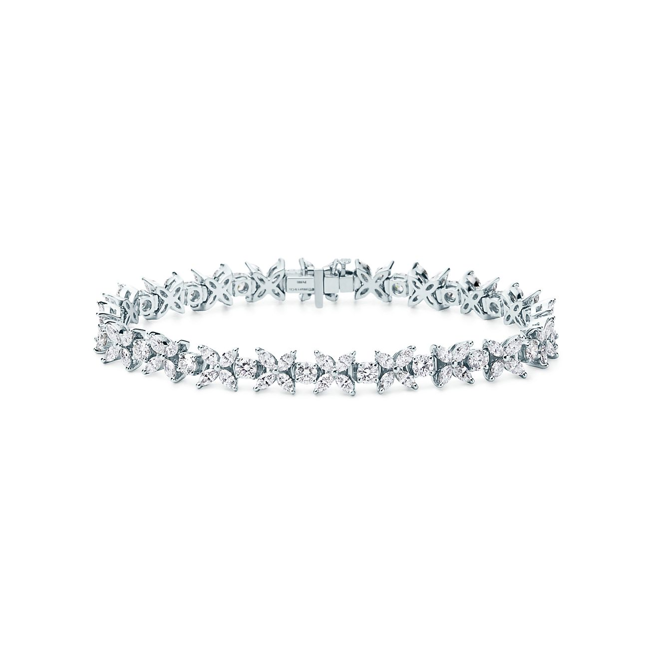 Tiffany Victoria Cluster Tennis Bracelet In Platinum With Diamonds Tiffany Co