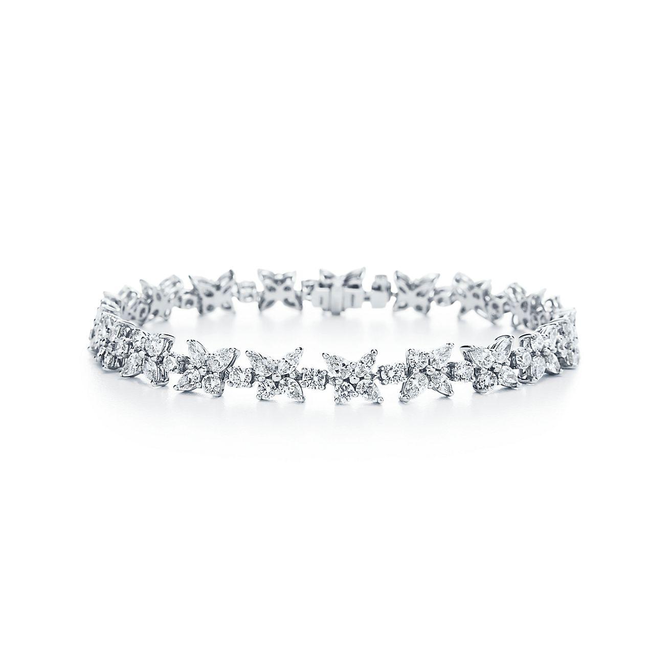 Tiffany Victoria Cluster Tennis Bracelet In Platinum With Diamonds Tiffany Co