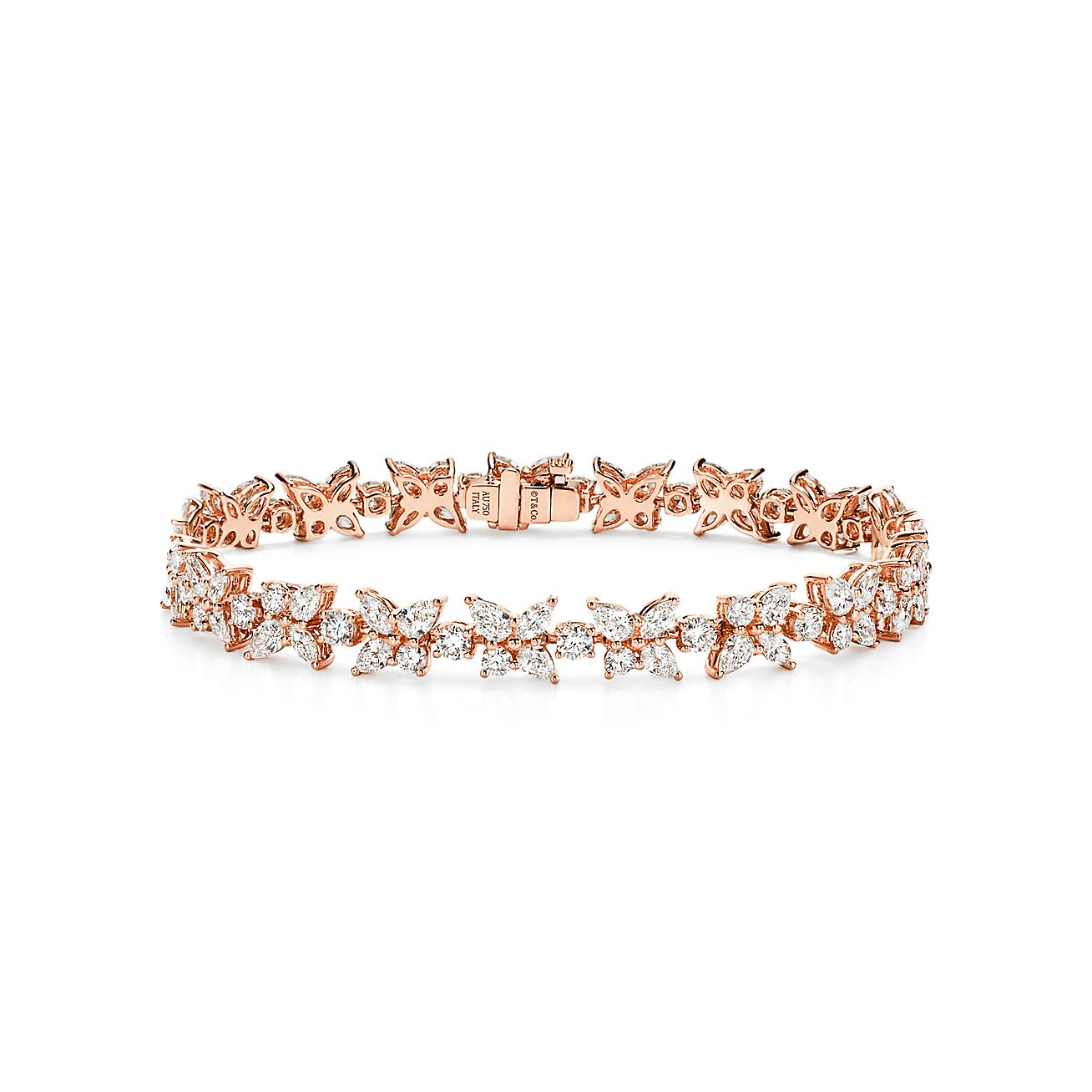 Tiffany Victoria Cluster Tennis Bracelet In Rose Gold With Diamonds Tiffany Co