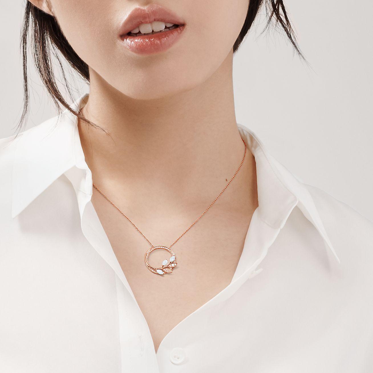 Tiffany Victoria™ diamond vine circle pendant in 18k rose gold, large. |  Tiffany & Co.