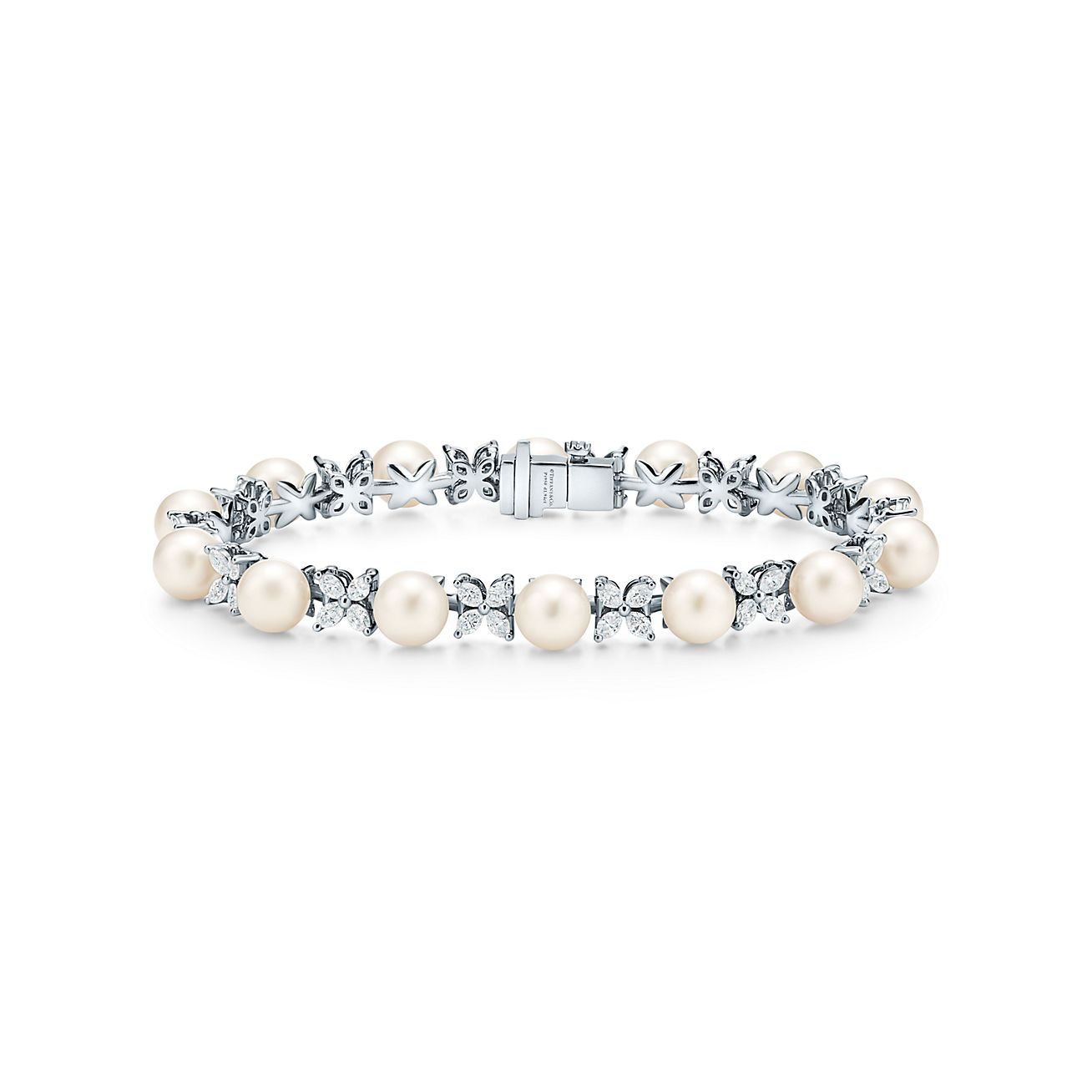 Tiffany Victoria Tennis Bracelet In Platinum With Diamonds And Pearls Tiffany Co