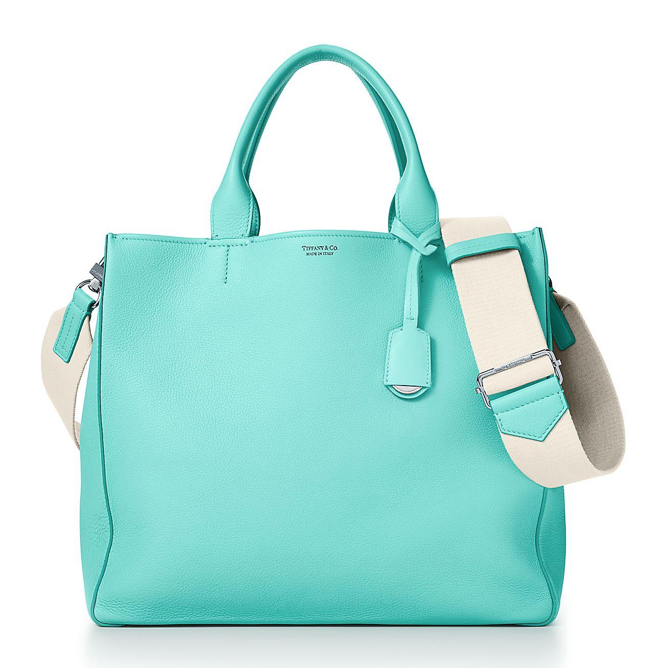 Borse Tiffany.Tote Da Donna In Pelle Di Vitello Fiore Tiffany Blue Tiffany Co