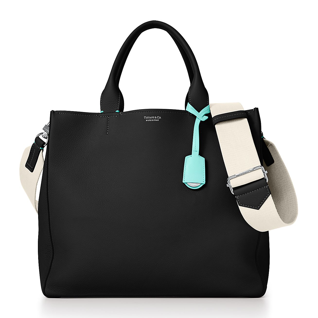 Tote In Black Grain Calfskin Leather