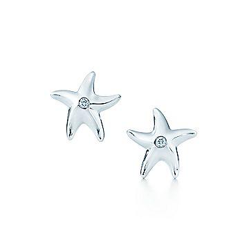 Boucles D Oreille Etoile De Mer Elsa Peretti Md Argent Sterling Diamants Tiffany Co