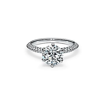 Pave Tiffany Setting Engagement Ring With A Pave Diamond Band In