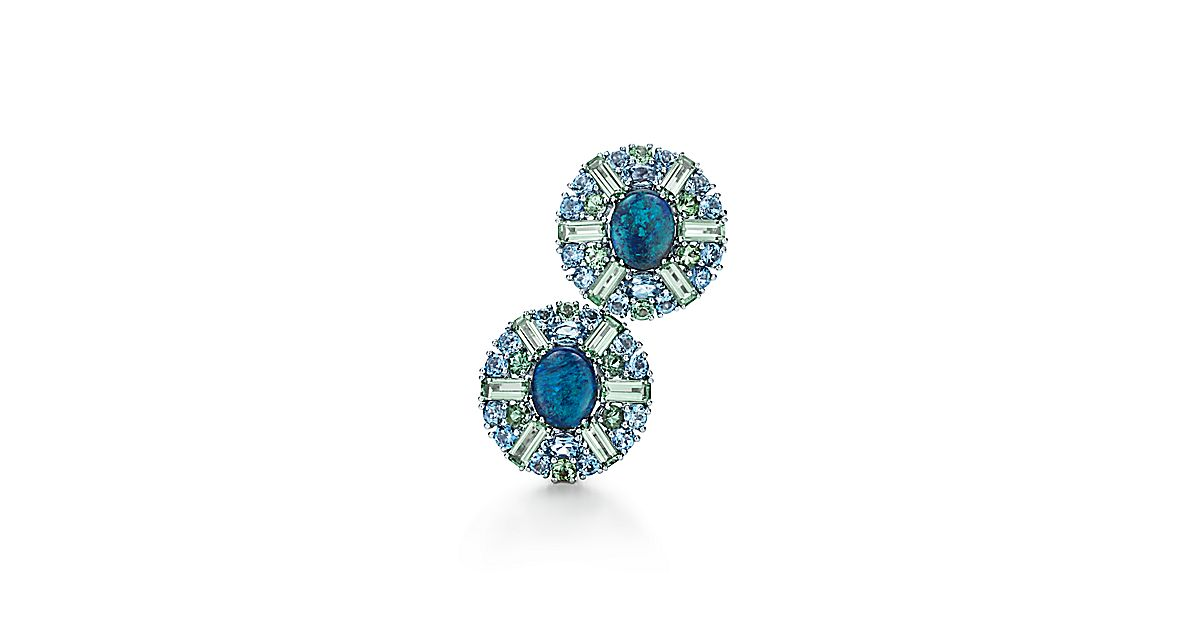 Earrings In Platinum With Black Opals Tourmalines And Aquamarines Tiffany Co