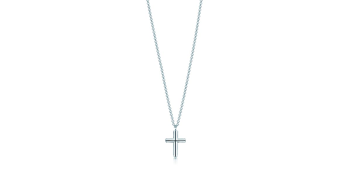 double rhodium in chain zirconium en cross necklace silver new and pattern