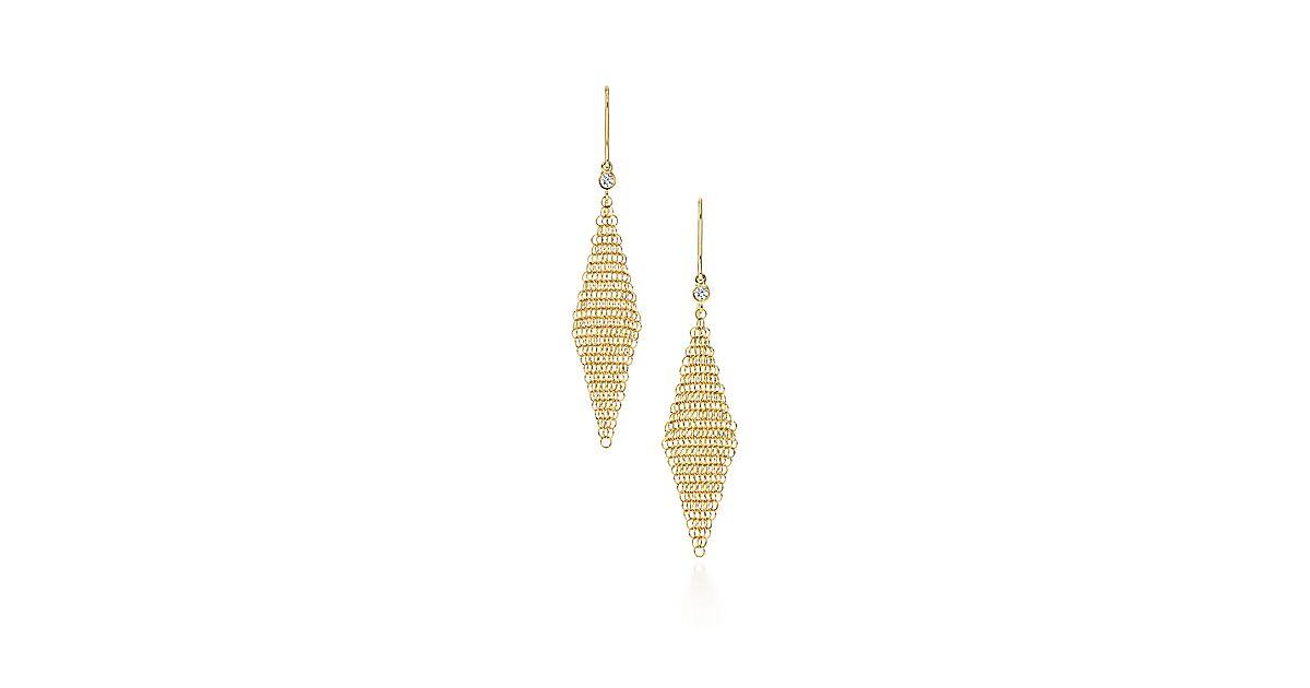 Elsa Peretti Mesh Earrings In 18k Gold With Diamonds Mini Tiffany Co