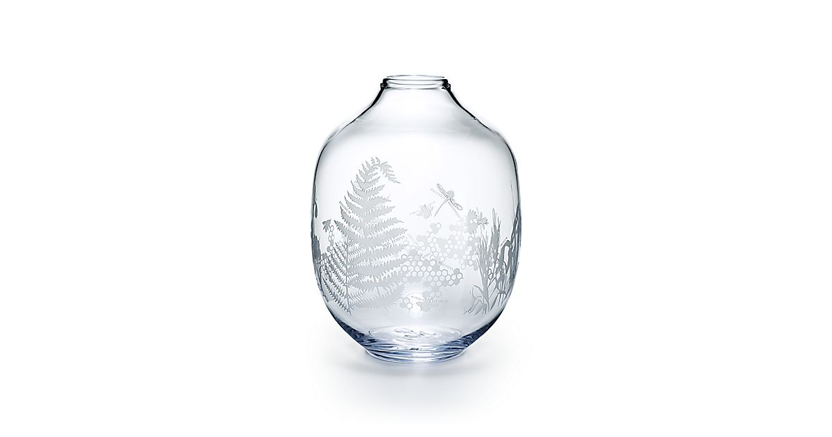 Flora Fauna Round Vase In Mouth Blown Glass Tiffany Co